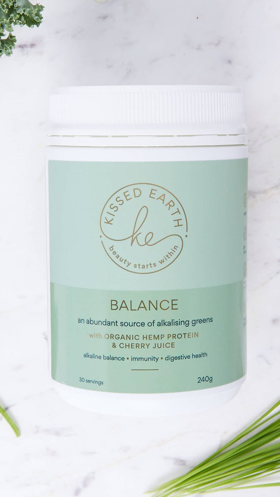 Kissed Earth Balance Powder - Organic Hemp Protein and Cherry Juice with Alkalising Greens