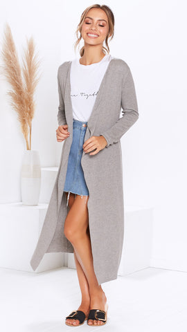 Peak Hour Knit Cardi - Grey