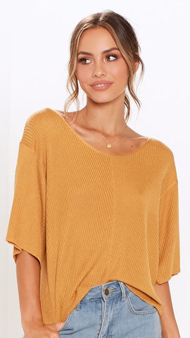 Close Encounter Ribbed Knit - Saffron
