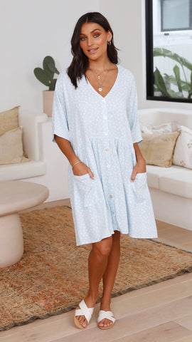 Willa Dress - Blue polka