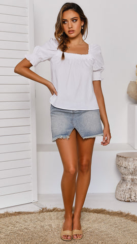Notch Front Skirt - Blue Denim