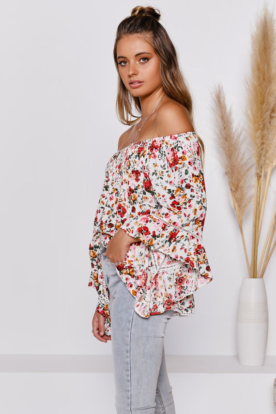 Nimbin Top - White Floral