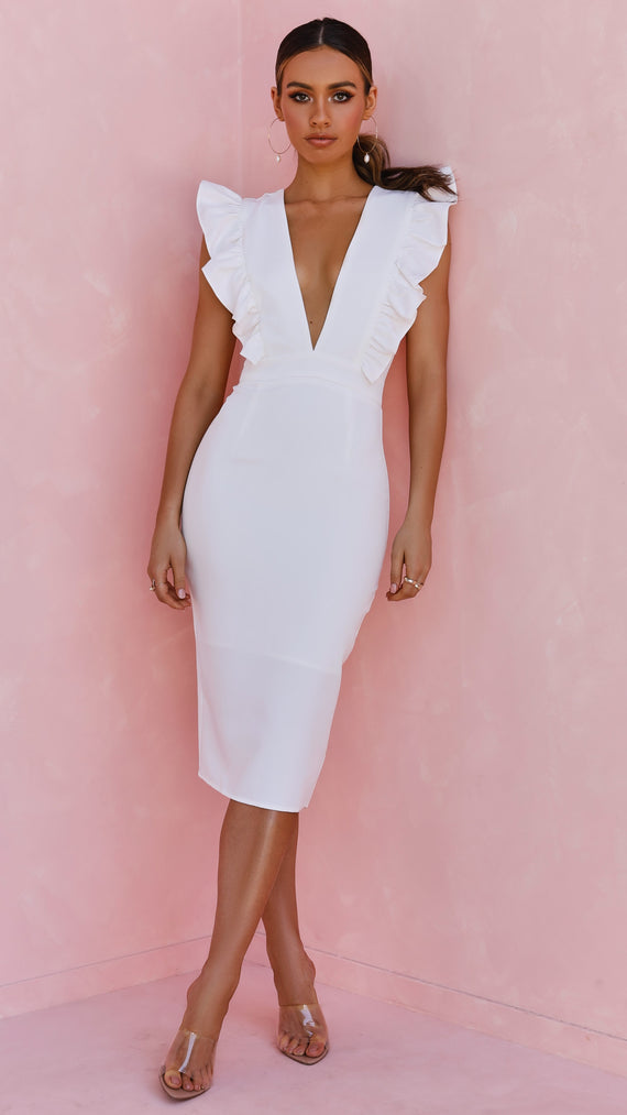 Evia Frill Plunge Midi Dress - White