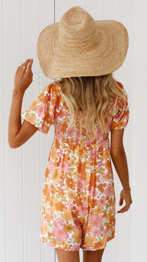 Audrey Playsuit - Orange White Floral