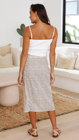 Wild Dreams Wrap Skirt - Beige Leopard