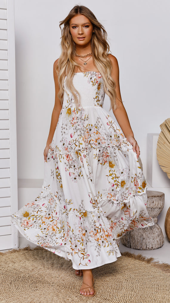 Moon Child Maxi Dress - Cream Floral