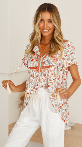 Kady Top - Orange/White Floral