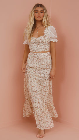Fiona Maxi Skirt - Cream Floral