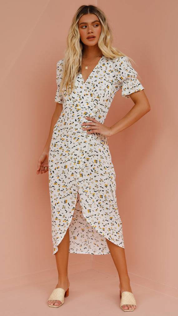 Petunia Wrap Dress - White Floral