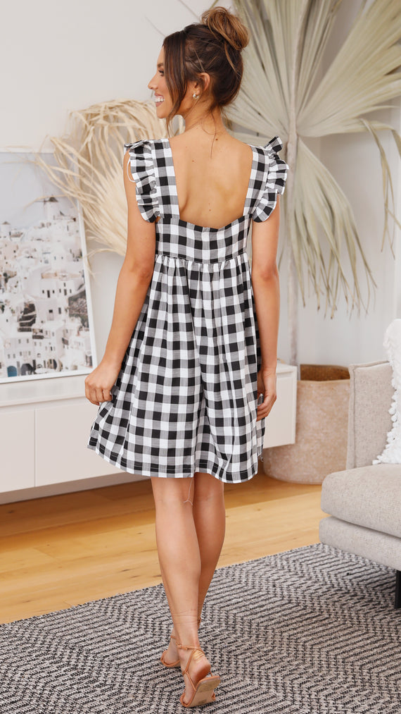Abigale Mini Dress - Black/White Gingham