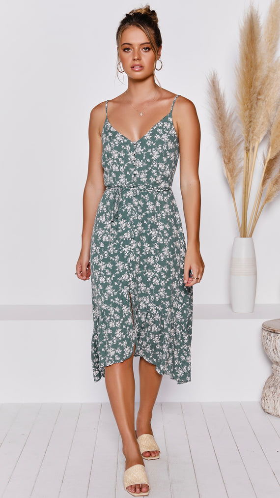 Alice Dress - Green Floral