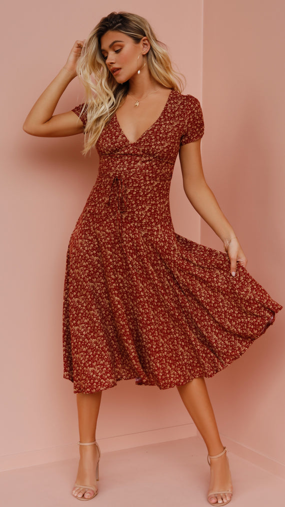 Jaime Midi Dress - Red Floral