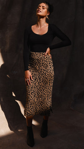 Sahara Knit Skirt - Leopard
