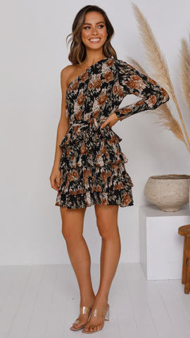 Shelby Dress - Black Floral