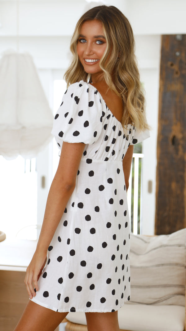 Piper Dress - White Polka