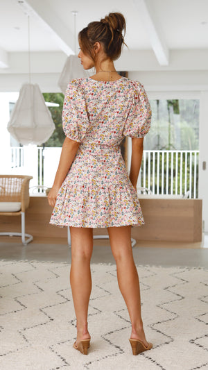 Addison Dress - Beige/Floral