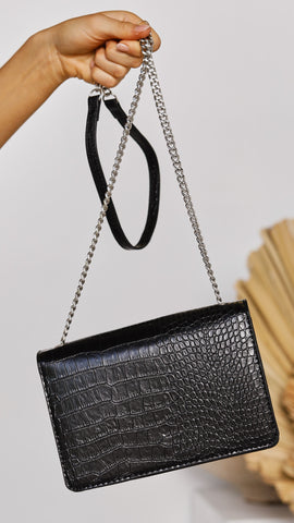 Rooney Shoulder Bag - Black Croc