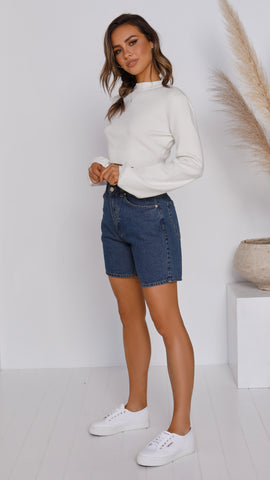 Jacy Shorts - Dark Blue Denim