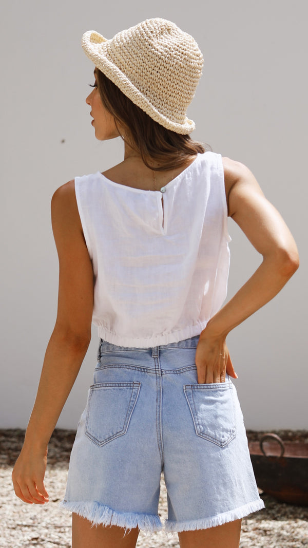 Aimee Linen Top - White
