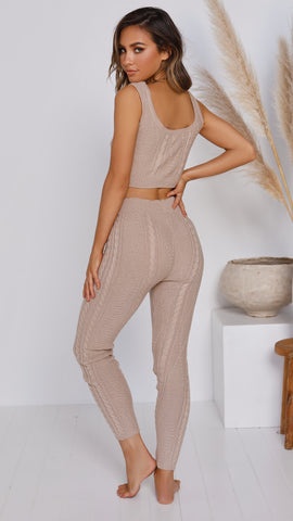 Wild Heart Top & Pants Knit Set - Beige