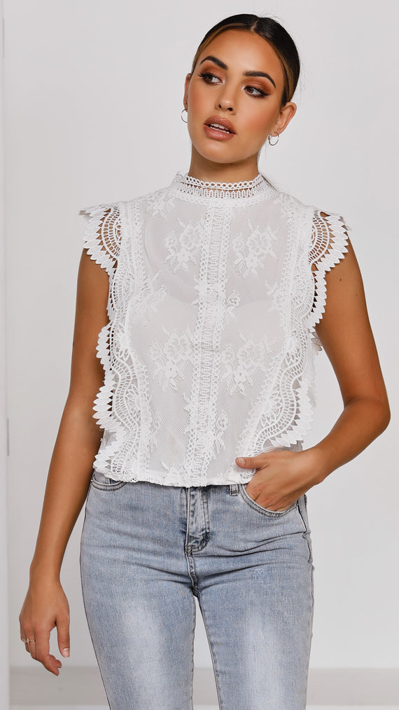 Florence Lace Top - White