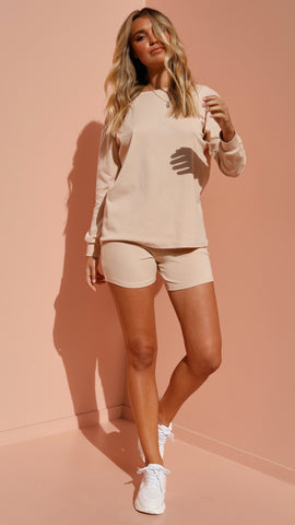 Rachel Top & Shorts Set - Nude