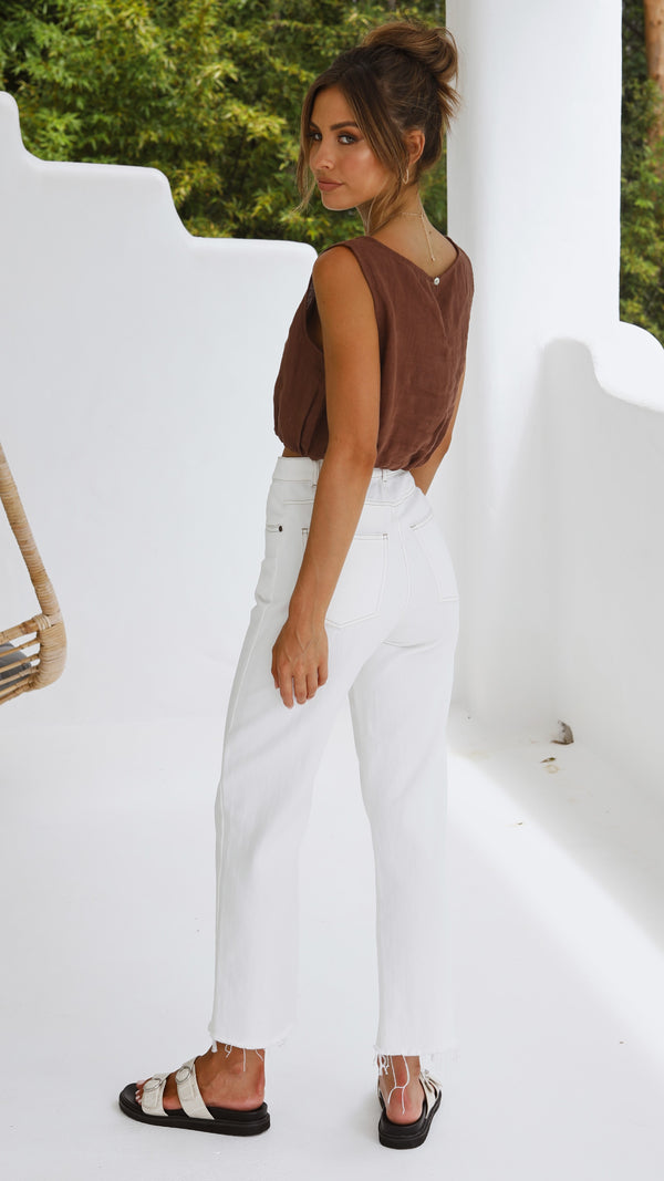 Aimee Linen Top - Chocolate Brown
