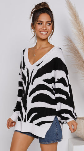 Stripes Knit - Black/White