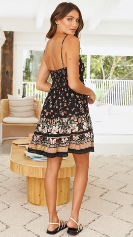 Laneway Mini Dress - Black Floral