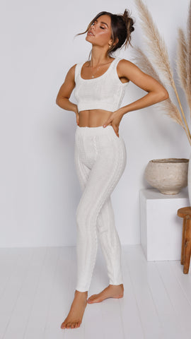 Wild Heart Top & Pants Knit Set - White