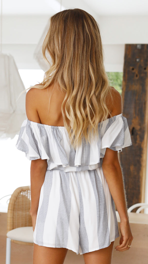 Dakota Playsuit - Blue/White Stripe