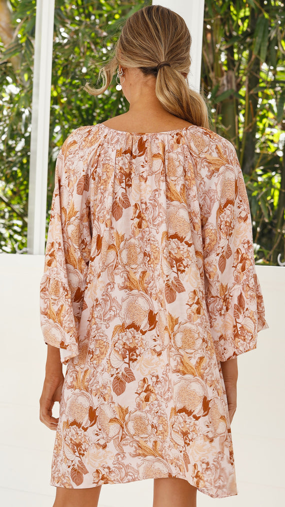 Sabina Dress - Pink/Beige Floral