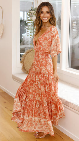 Veronika Maxi Dress - Rust