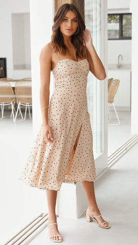 Sammy Dress - Beige Polka