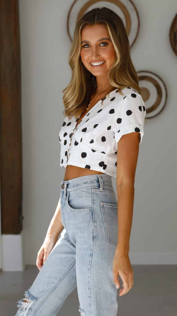 PIPER TOP - WHITE POLKA