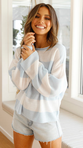 Sadie Knit - Blue/White Stripe