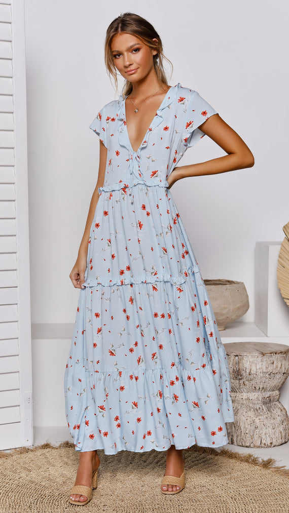 Bittersweet Maxi Dress - Baby Blue Floral
