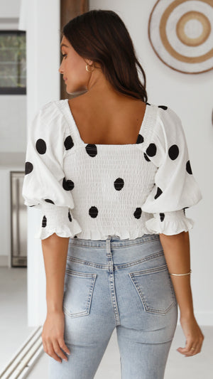 Amira Top - White/Black Polka