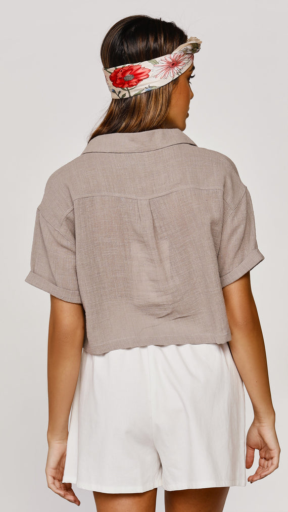 The Minimalist Cropped Shirt - Taupe