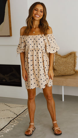 Arabella Mini Dress - Beige Spot