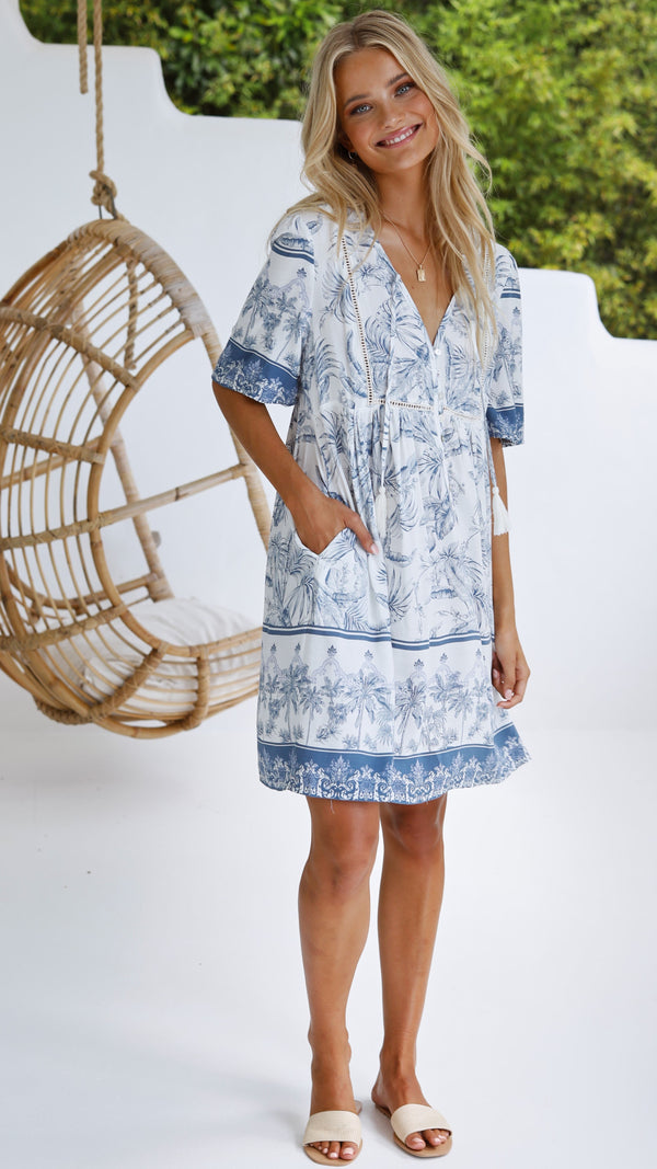 Adalynn Mini Dress - Blue Palm Print