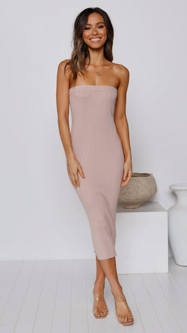 Keely Strapless Dress - Nude