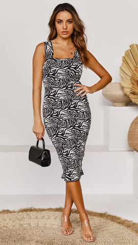 Tina Midi Dress - Zebra Print