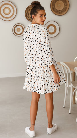 Keeley Dress - Brown/Black Polka