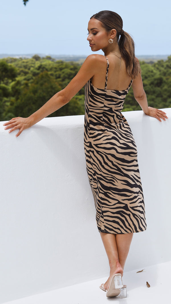 Gigi Midi Dress - Tan Zebra
