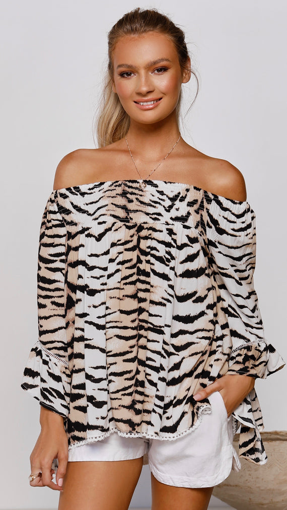 Only in Dreams Top - White Tiger
