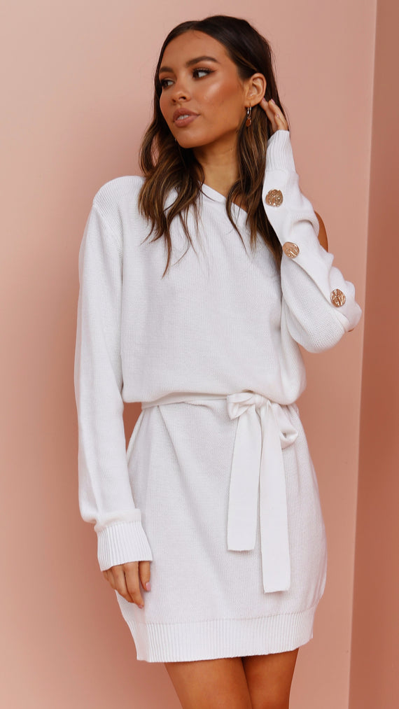Bell Knit Dress - White