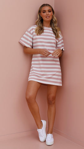 Tiffany Dress - Pink Stripe