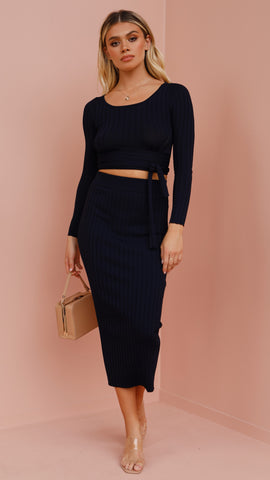 Bronte Knit Midi Skirt - Navy