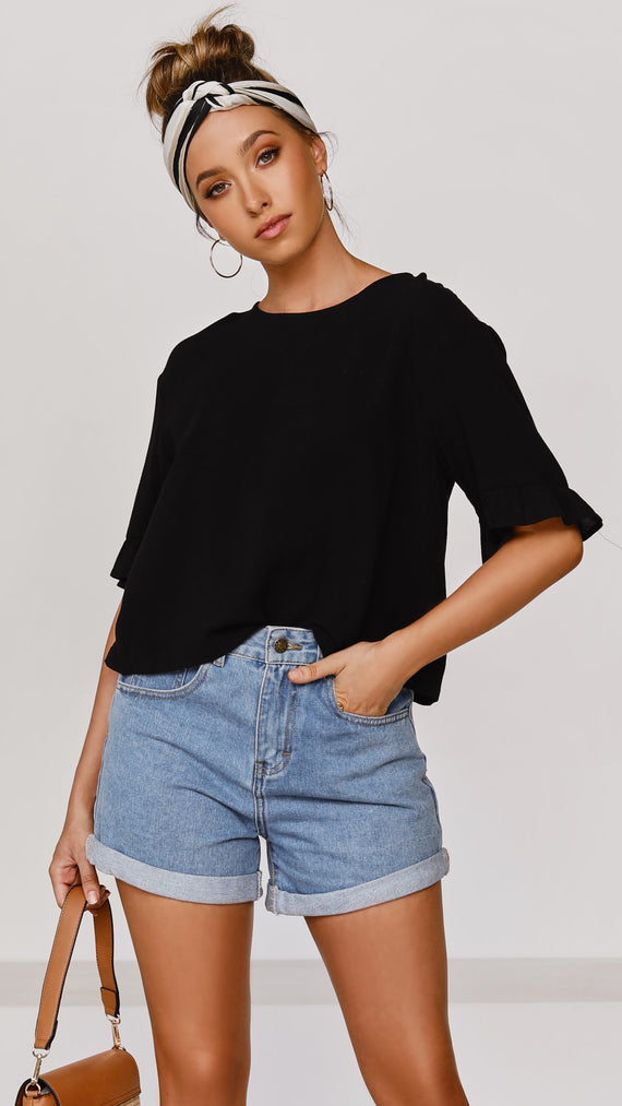 Raffia Top - Black